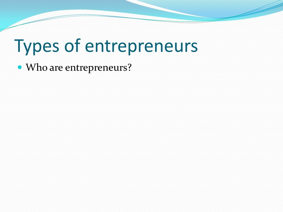 Types of entrepreneurs Who are entrepreneurs