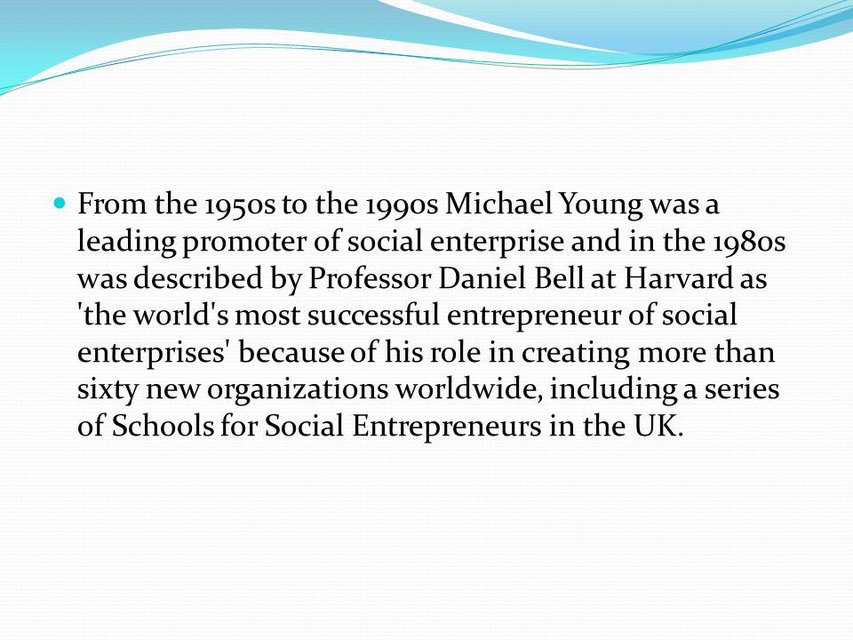 From the 1950s to the 1990s Michael Young was a leading promoter of social enterprise and in the 1980s was described by Professor Daniel Bell at Harvard as the world s most successful entrepreneur of social enterprises because of his role in creating more than sixty new organizations worldwide, including a series of Schools for Social Entrepreneurs in the UK.