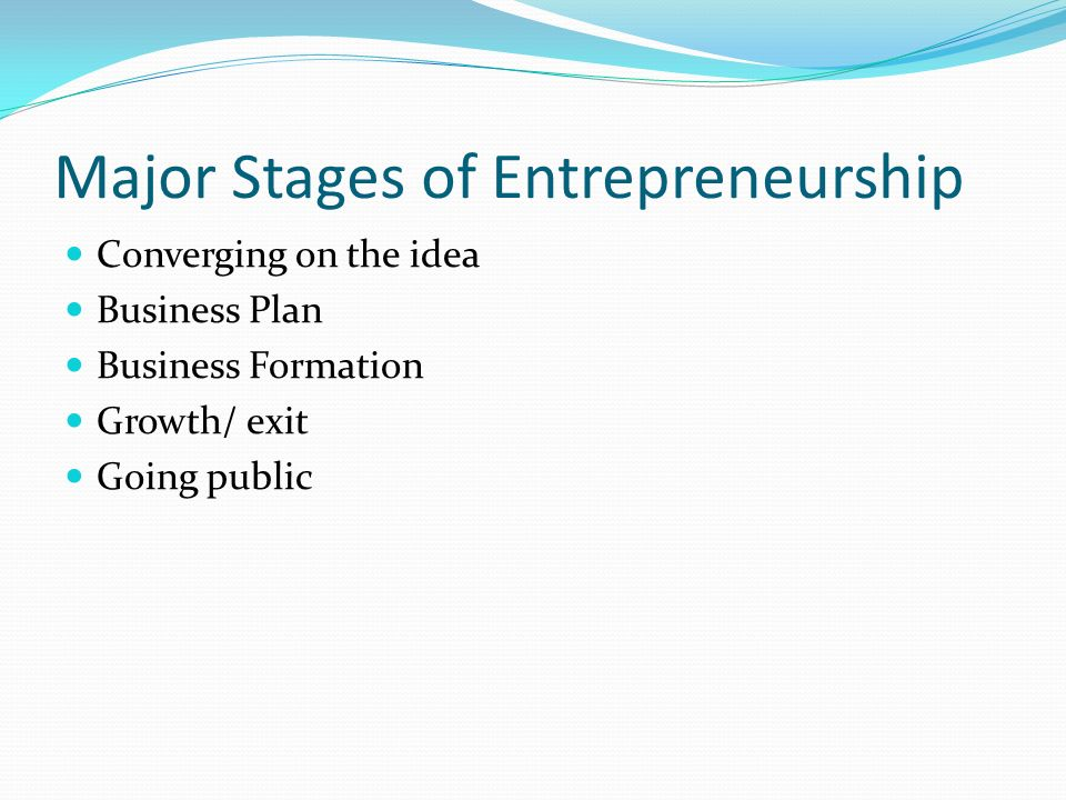 Major Stages of Entrepreneurship Converging on the idea Business Plan Business Formation Growth/ exit Going public
