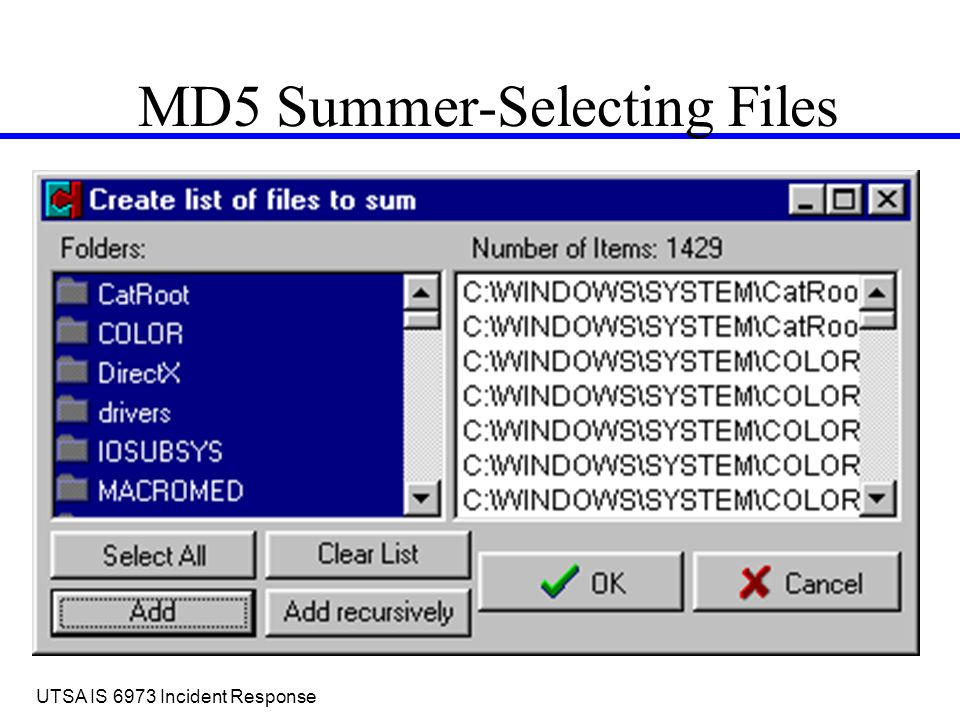 MD 5 Project  UTSA IS 6973 Incident Response Overview MD5 Summer