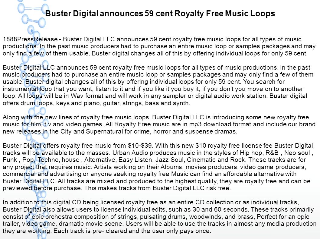 Buster Digital announces 59 cent Royalty Free Music Loops