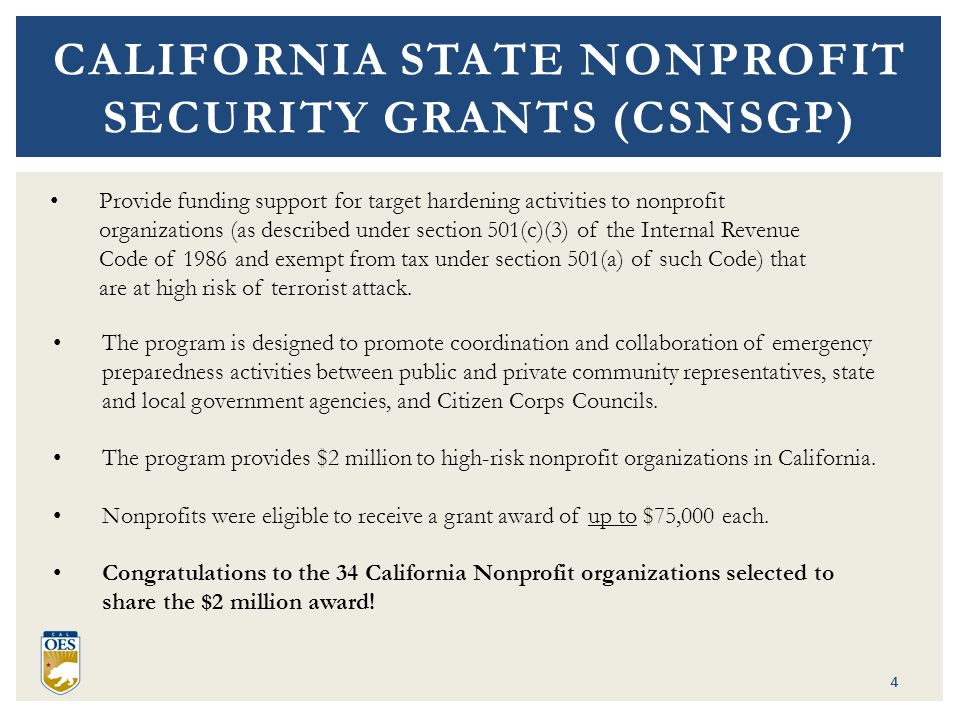 CALIFORNIA STATE NONPROFIT SECURITY GRANT PROGRAM REQUIRED DOCUMENTS