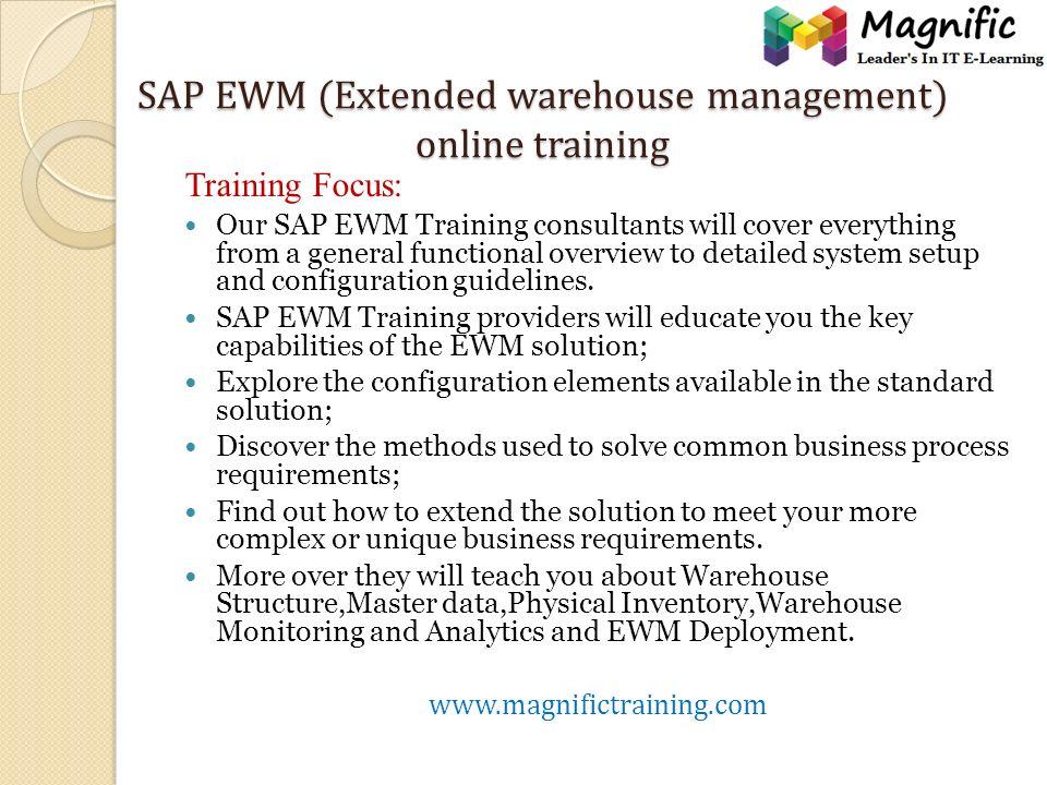 Sap Ewm Extended Warehouse Management Online Training Sap Ewm