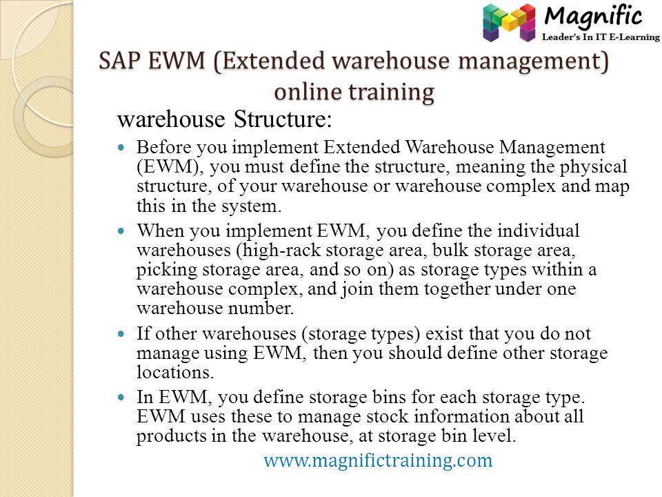 SAP EWM (Extended warehouse management) online training SAP EWM