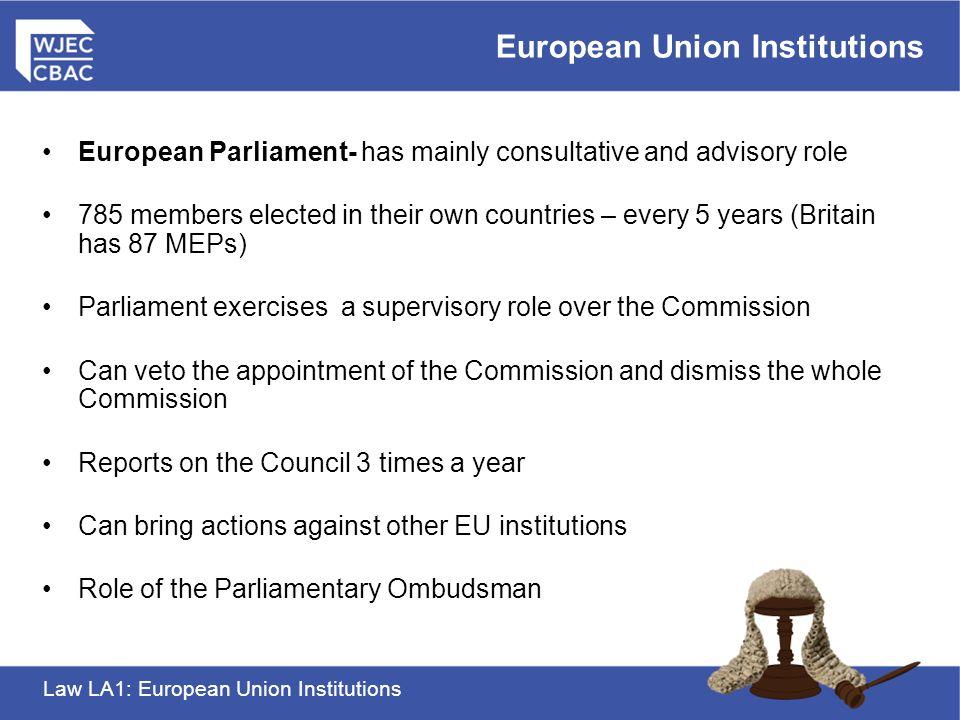 Law LA1: European Union Institutions European Union Institutions AS