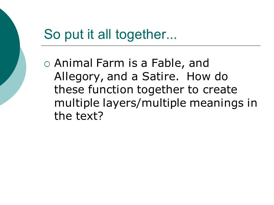 Animal Farm Fable Symbol Allegory And Satire Fable Fable