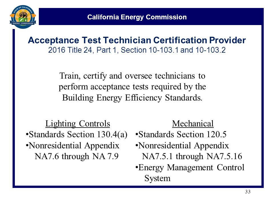 California Energy Commission Acceptance Test Technician