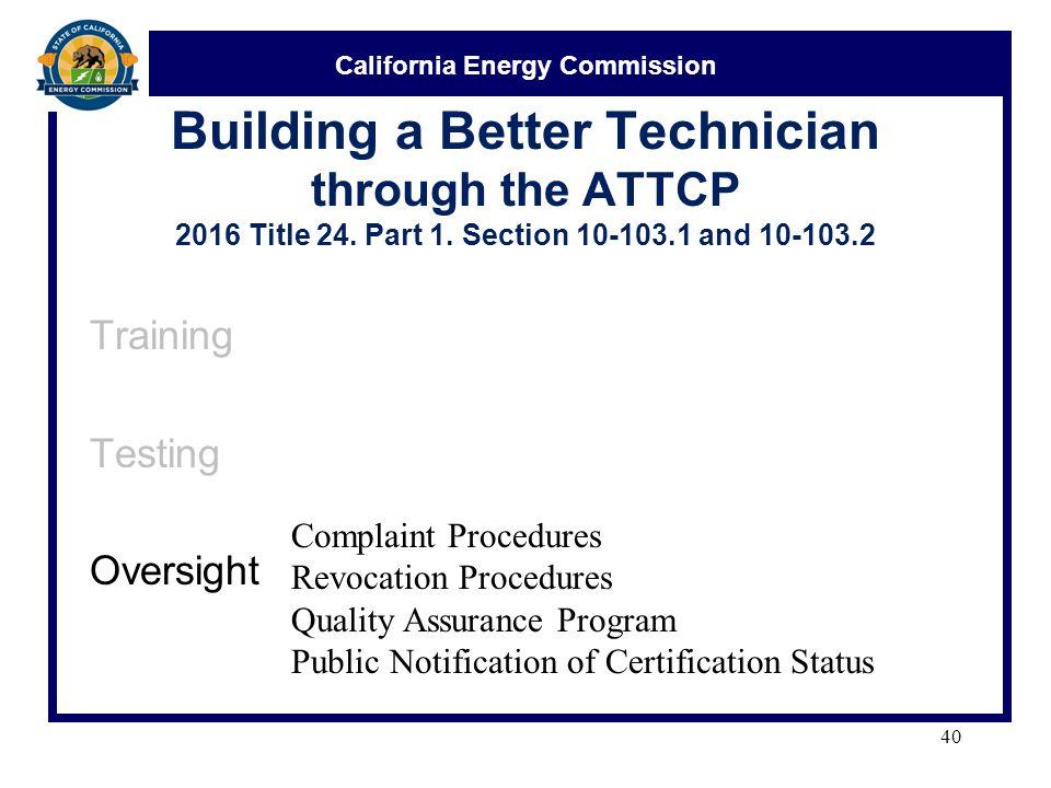 California Energy Commission Acceptance Test Technician