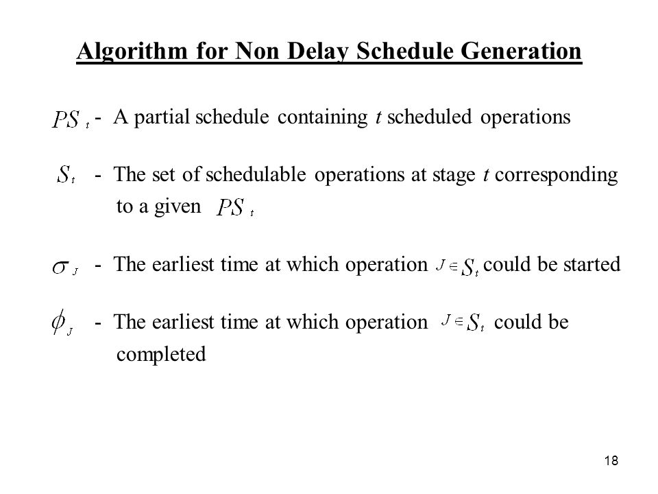 18 Algorithm for Non Delay Schedule Generation - A partial schedule containing t scheduled operations - The set of schedulable operations at stage t corresponding to a given - The earliest time at which operation could be started - The earliest time at which operation could be completed
