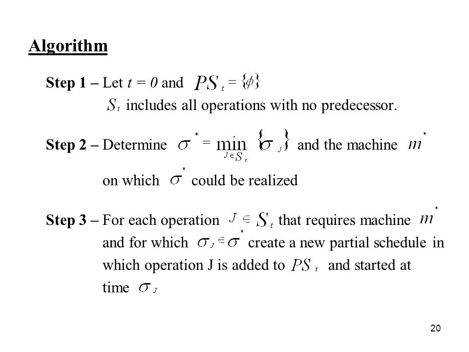 20 Algorithm Step 1 – Let t = 0 and includes all operations with no predecessor.