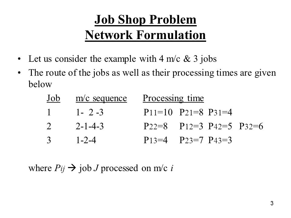 3 Job Shop Problem Network Formulation Let us consider the example with 4 m/c & 3 jobs The route of the jobs as well as their processing times are given below Job m/c sequence Processing time P 11 =10 P 21 =8 P 31 = P 22 =8 P 12 =3 P 42 =5 P 32 = P 13 =4 P 23 =7 P 43 =3 where P ij  job J processed on m/c i