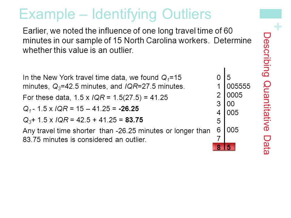 + Describing Quantitative Data In the New York travel time data, we found Q 1 =15 minutes, Q 3 =42.5 minutes, and IQR=27.5 minutes.