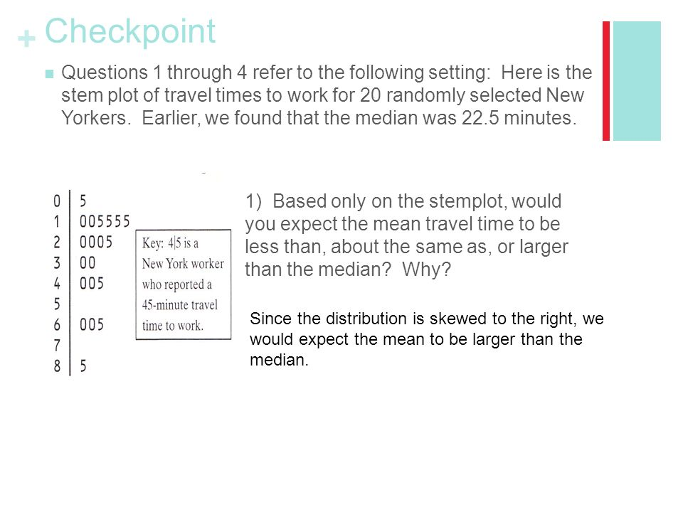 + Checkpoint Questions 1 through 4 refer to the following setting: Here is the stem plot of travel times to work for 20 randomly selected New Yorkers.