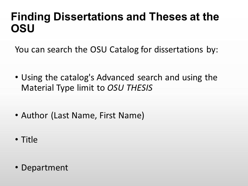 ohio university electronic theses and dissertation Before theses and dissertations were available electronically, not many were read electronic access multiplies the number of times works are read by a factor of ten or more in fact, one author at virginia tech increased accesses to 56,399 from 9,920 in only one year.