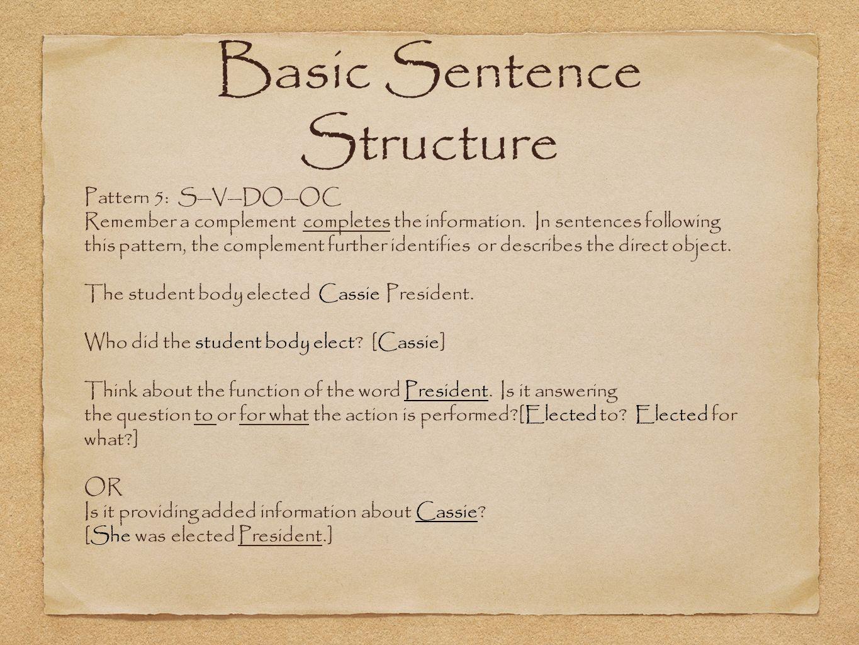 Basic sentence patterns.
