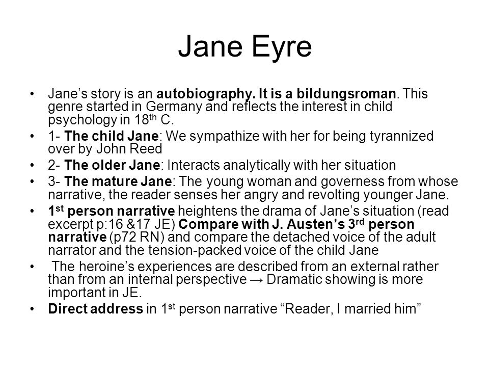 Lecture 4 Reading Jane Eyre P68 100 Narrating Jane Eyre Pictured