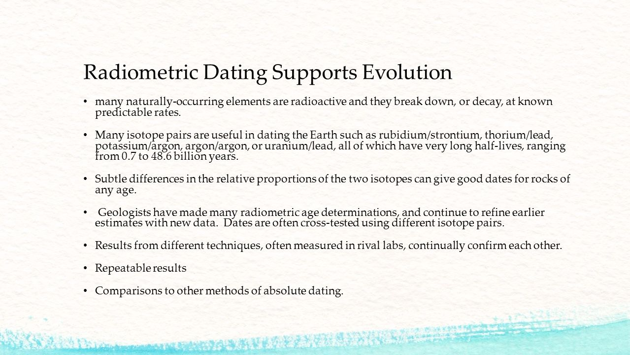 how does radiometric dating support evolution