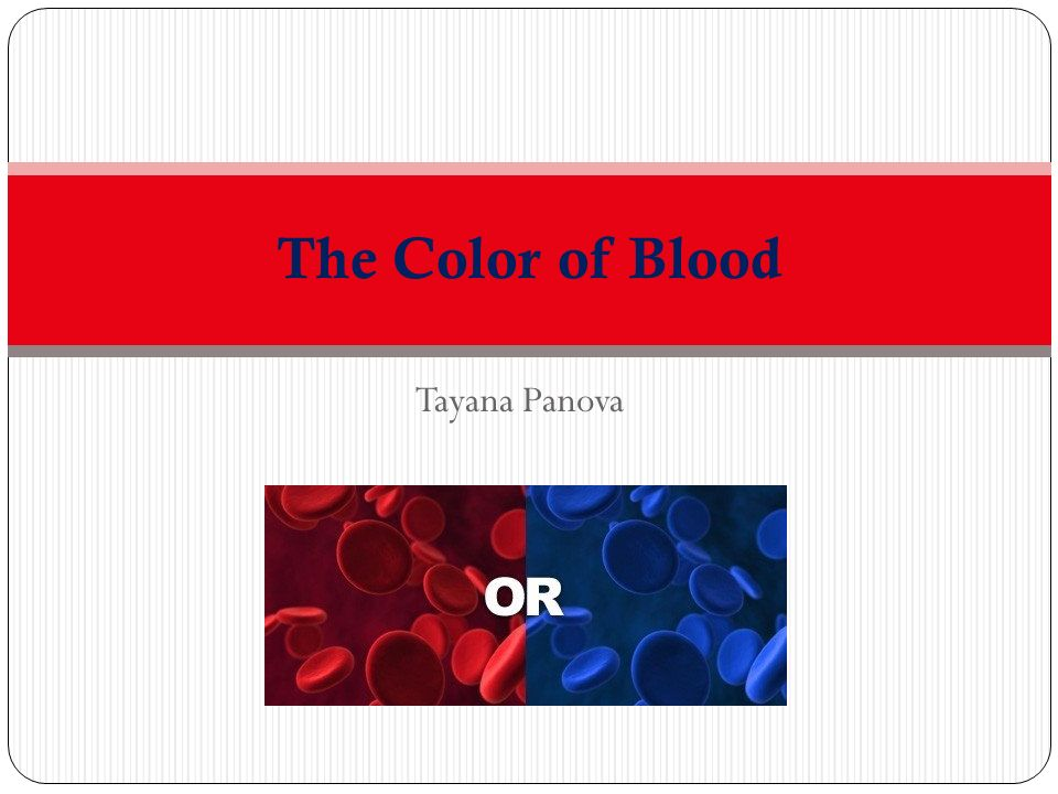 Tayana Panova The Color Of Blood There Is A Misconception That