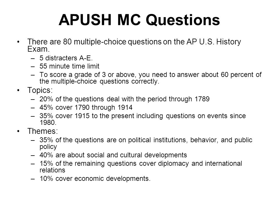 Apush Multiple Choice Questions