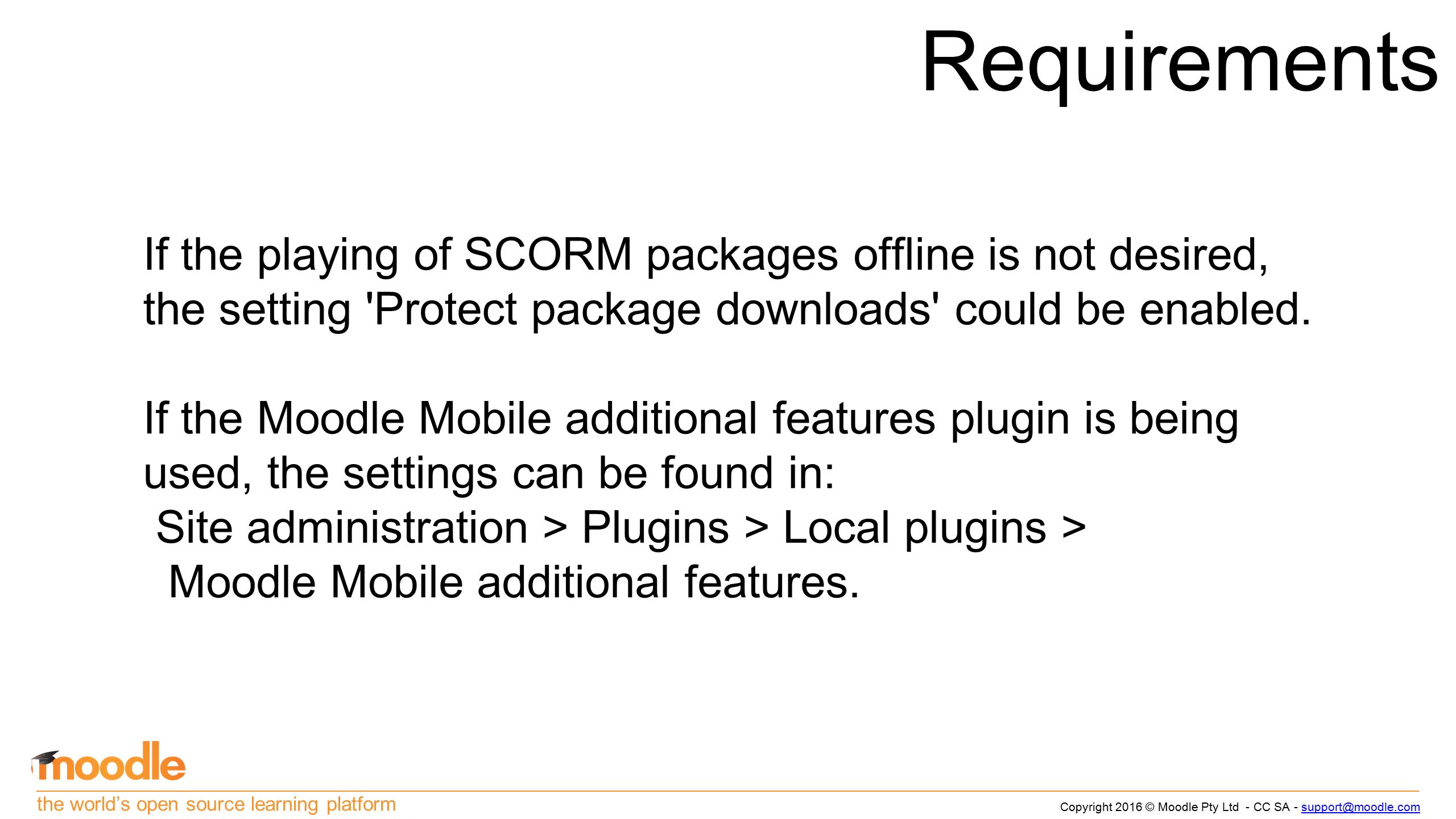 The world's open source learning platform Moodle Mobile SCORM 1 2