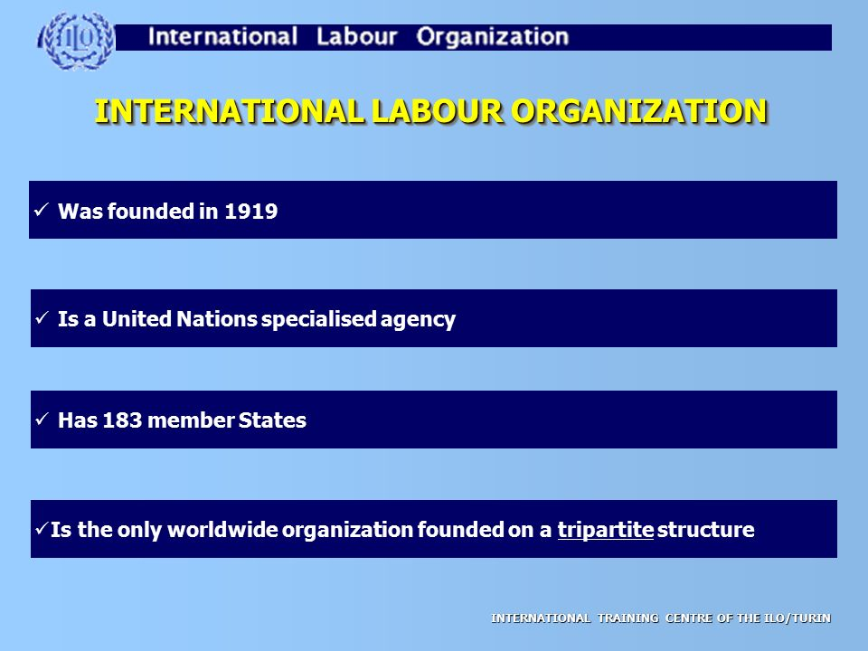 international labor organization essay The international labour organization is a united nations agency dealing with labour issues, particularly international labour standards and decent for all there are 185 countries that are member states of international labour organization.