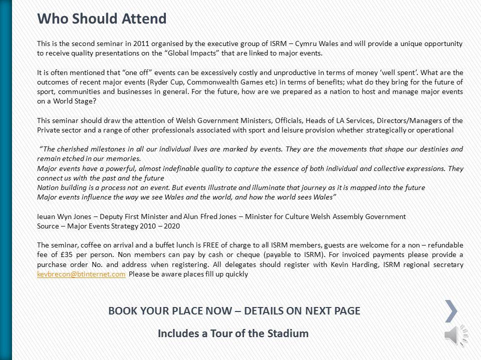 ISRM (CYMRU) Seminars Major Sporting Events Impact and Sustainable