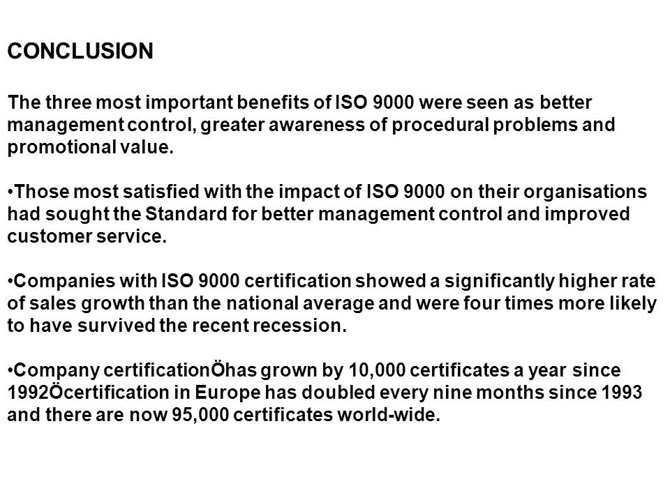 need and importance of iso 9000