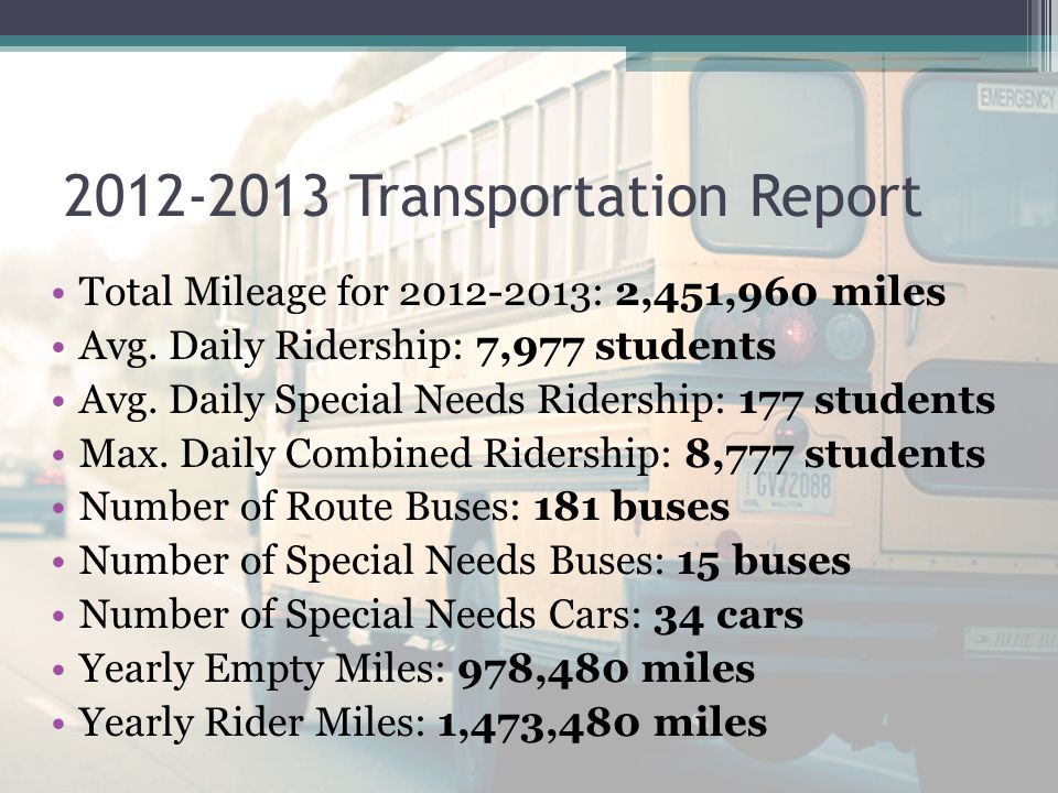 RCPS Department of Transportation Fall Ridership and School