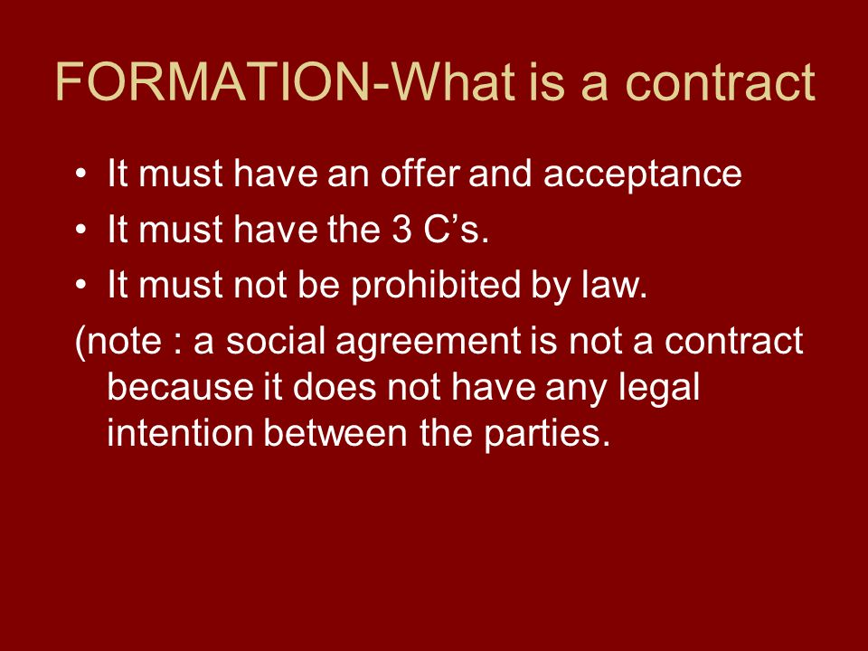 elements of legally enforceable sales contracts essay Excerpt from : contract law exists to ensure that agreements between two or more parties are honored by every party in this regard, contract law is based on the principle that agreements between two parties are legally enforceable since every part needs to honor his/her part of the deal.