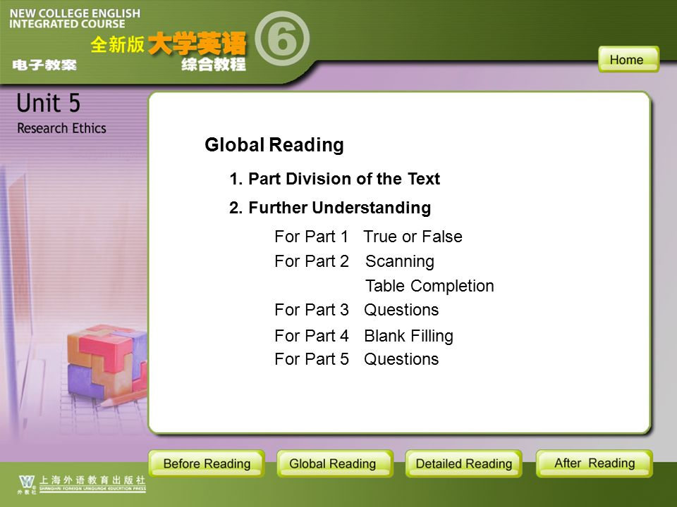 GR-MAIN Global Reading 1. Part Division of the Text 2.