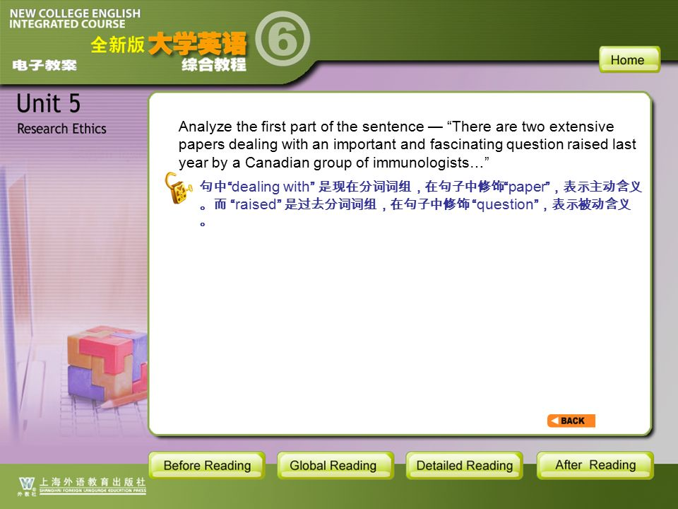 TEXT-S7-8 Analyze the first part of the sentence — There are two extensive papers dealing with an important and fascinating question raised last year by a Canadian group of immunologists… 句中 dealing with 是现在分词词组,在句子中修饰 paper ,表示主动含义 。而 raised 是过去分词词组,在句子中修饰 question ,表示被动含义 。