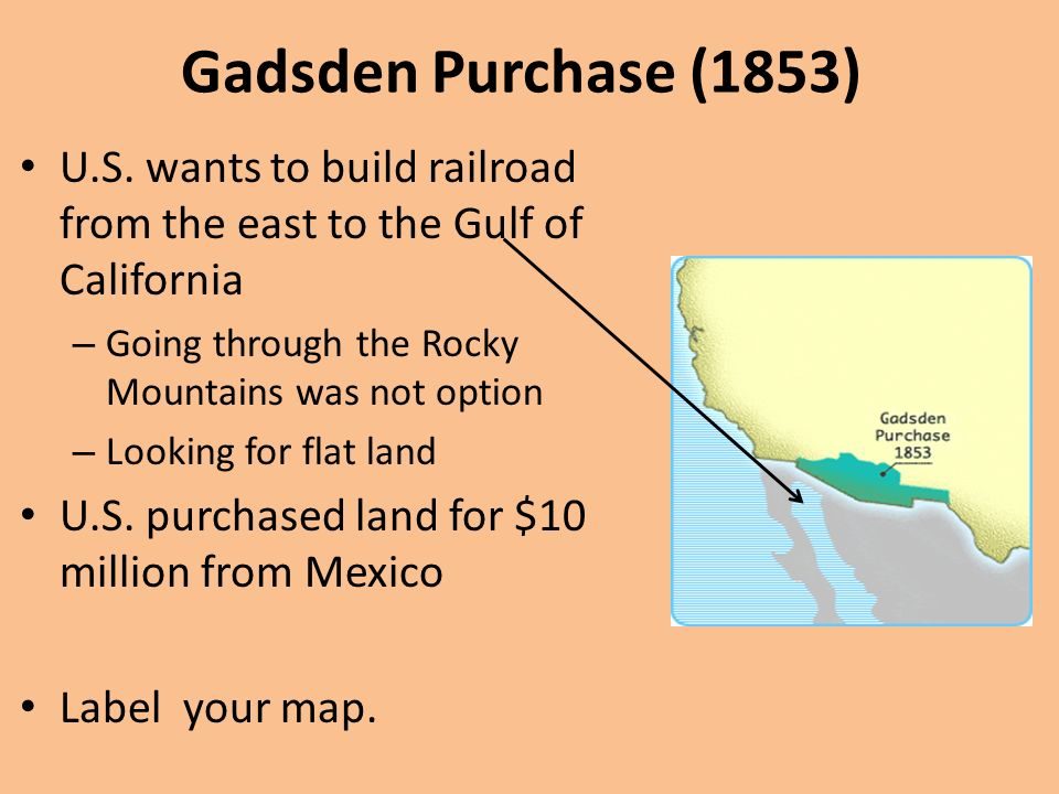 in the gadsden purchase the united states purchased land from