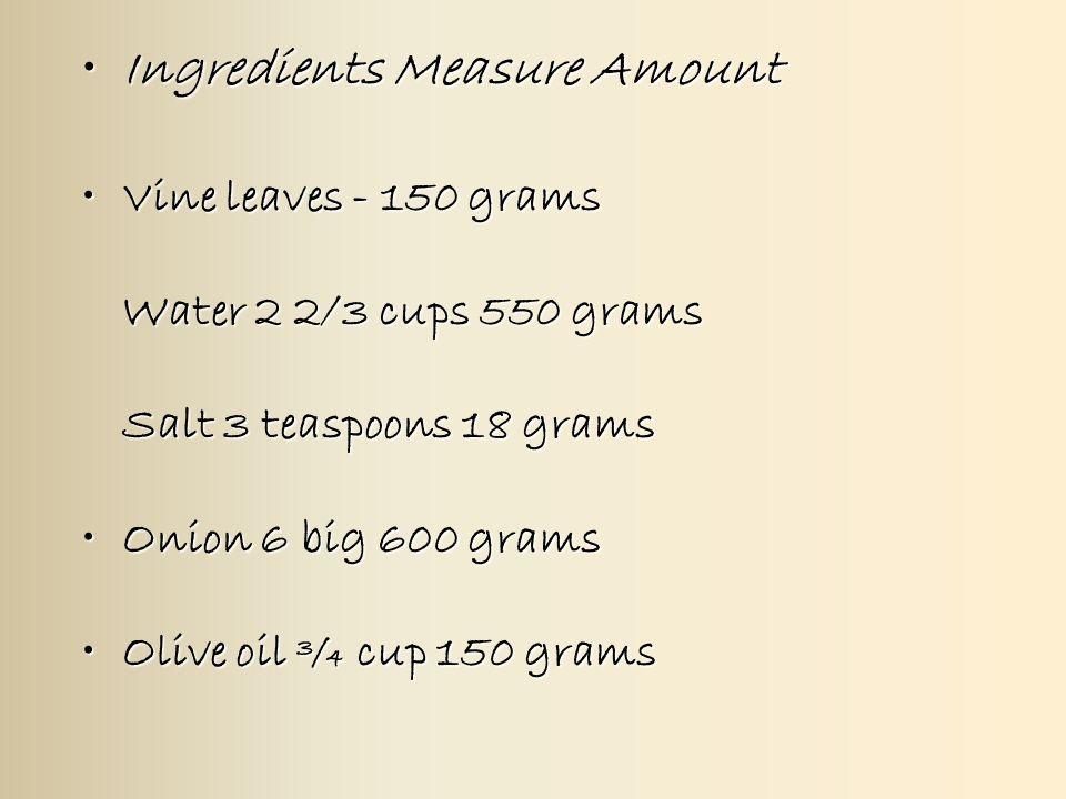 3 Ingre Nts Measure Amountingre Nts
