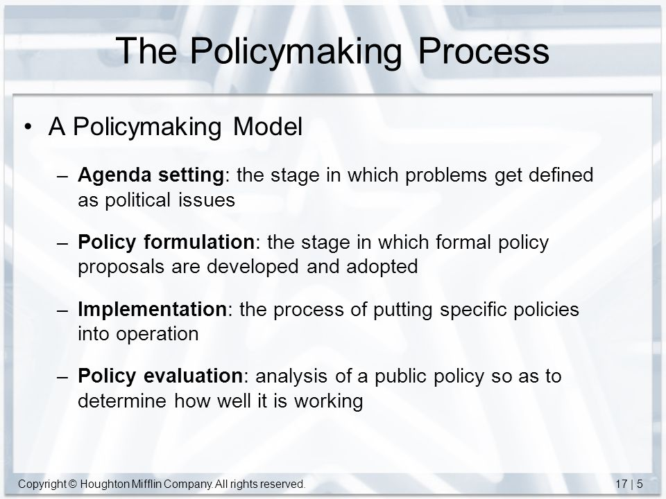 evaluation stage of policy making