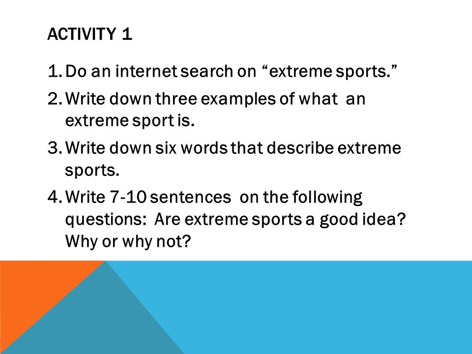 extreme sports essay conclusion The client is ministry of sports and culture and it wishes to create a platform for action sports in pakistan where main and major extreme sports can be played and experienced on one platform under one roof.