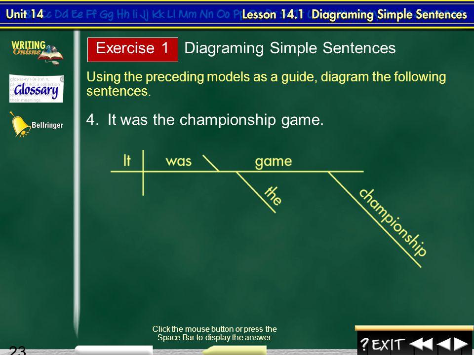 Splash screen unit 14 diagraming sentences 2 contents unit 14 23 lesson 1 19 using the preceding models as a guide diagram the following ccuart Images