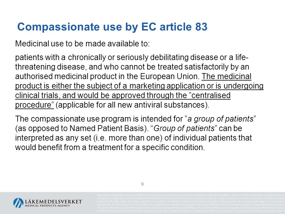 Compassionate use programs and the European regulatory