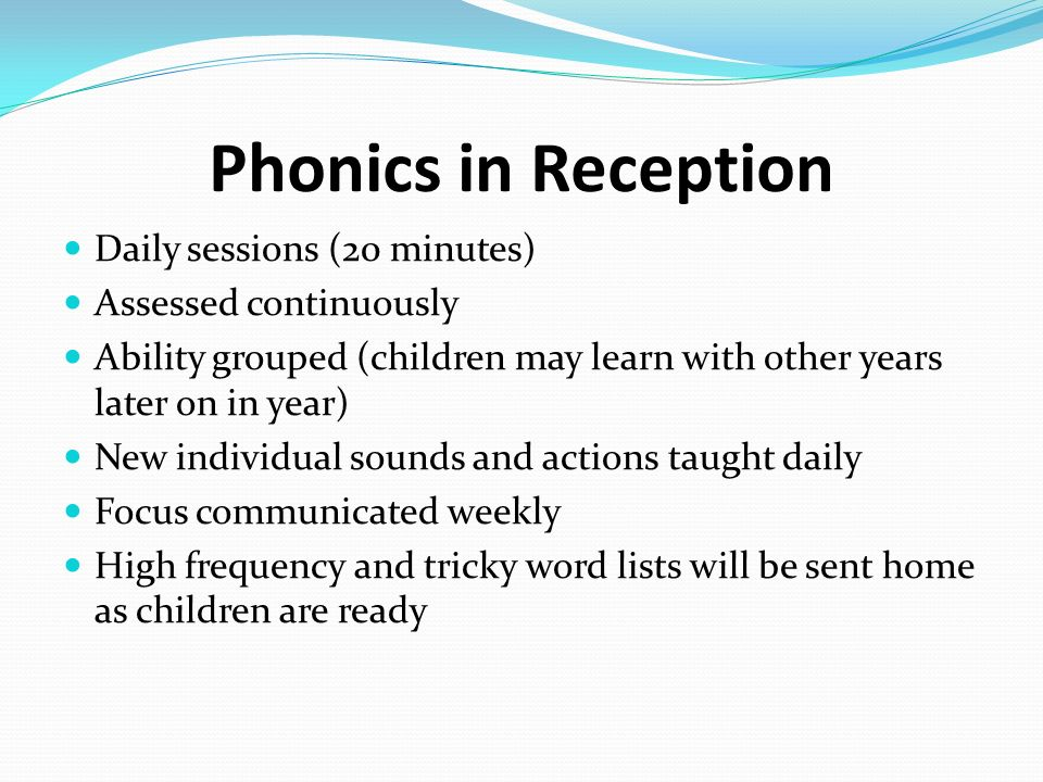 Phonics The link between sounds and how we write them