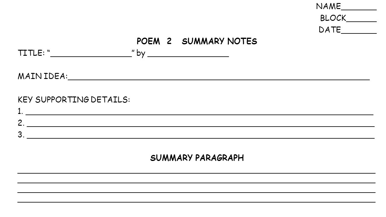 Workbooks main idea supporting details worksheets : NAME_______ BLOCK______ DATE_______ Warm Up: Q4 Book Summary ...
