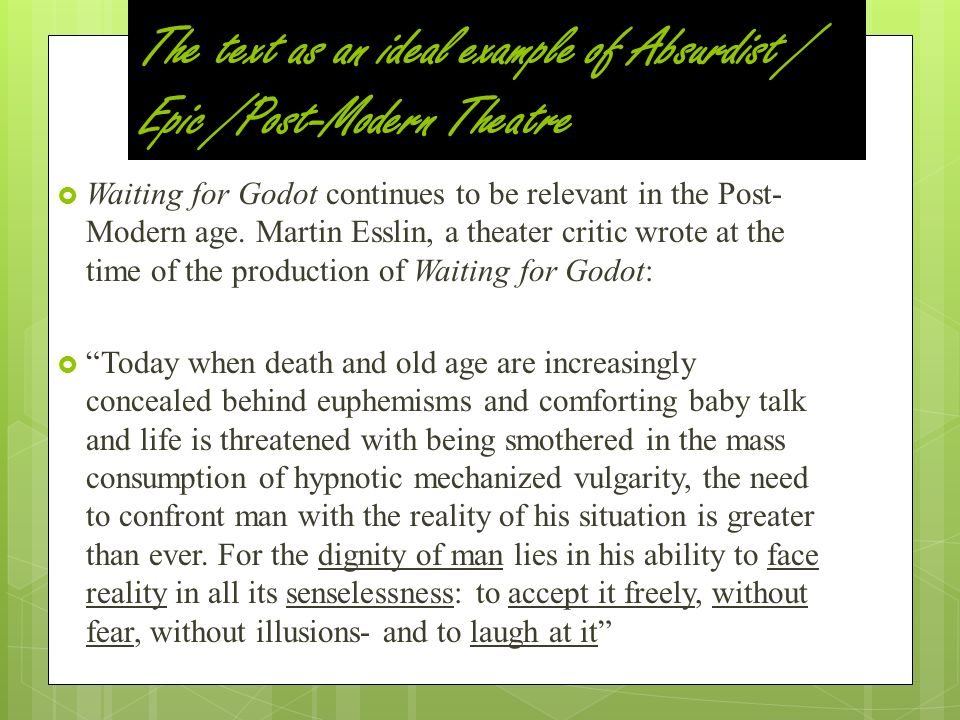 examples of absurdism in waiting for godot