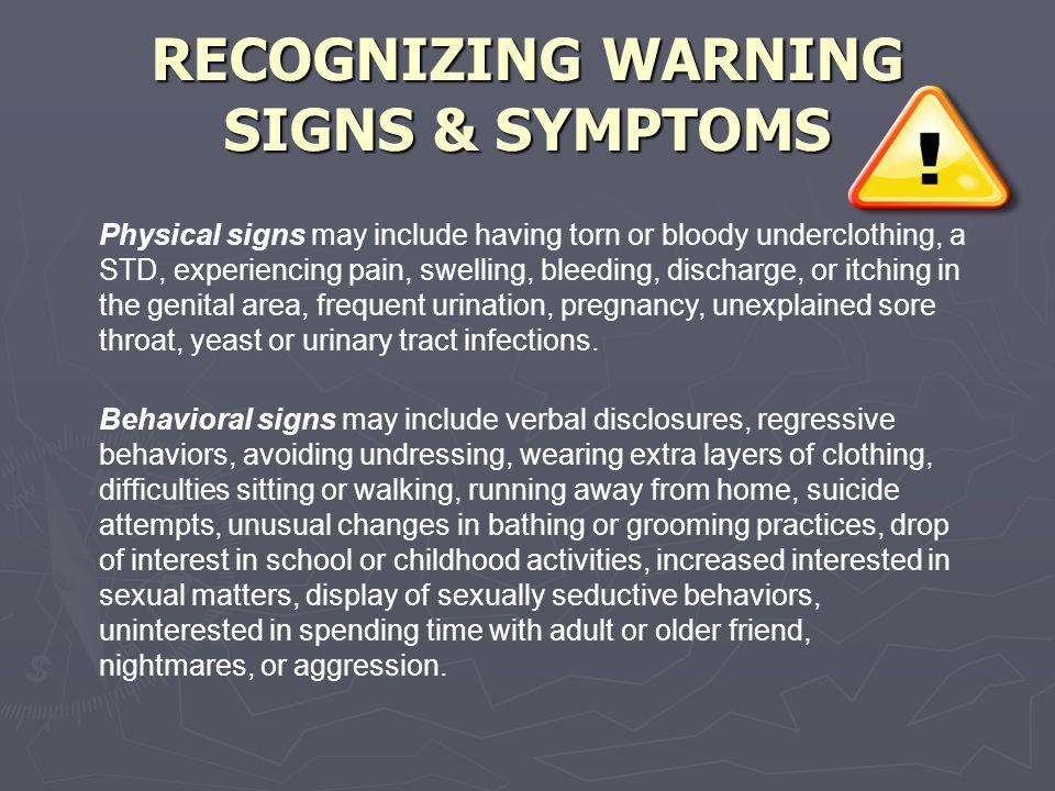 Signs of grooming behaviors