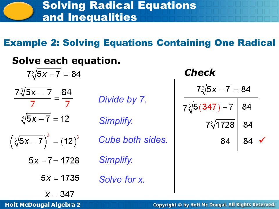 Holt Mcdougal Algebra 2 Solving Radical Equations And Inequalities