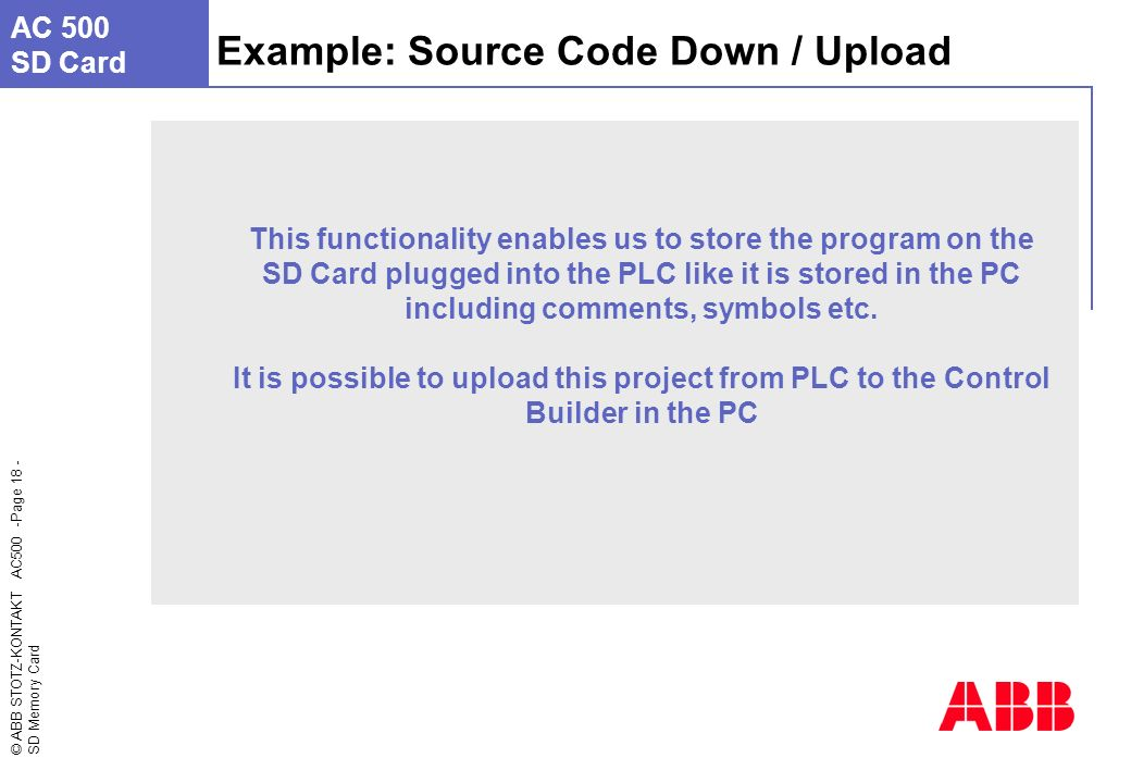 Abb Entrelec Ac 500 Page Sd Memory Card Insert Image Here The