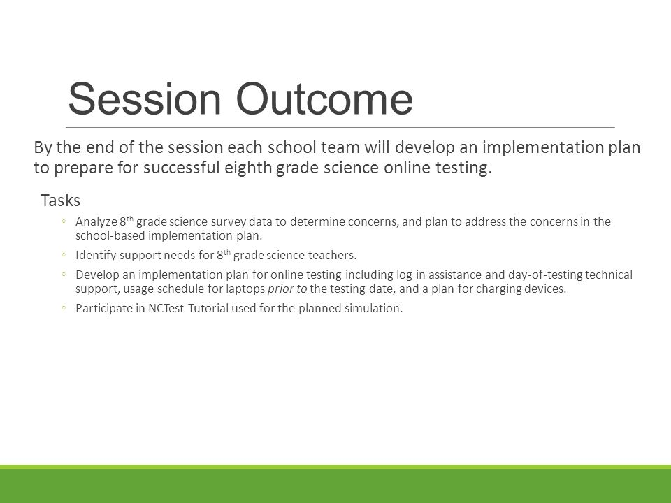 Eighth Grade Science Online Implementation Planning Session NEW ...