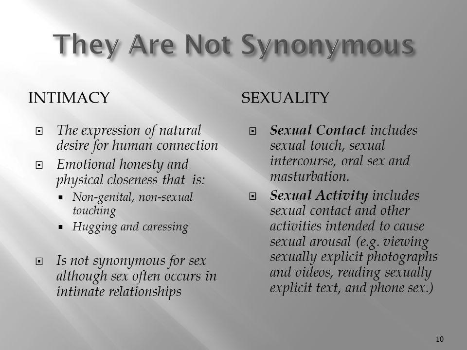 Non sexual intimacy