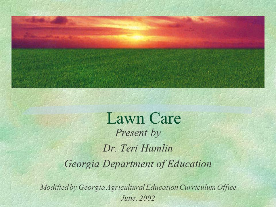 Lawn Care Present by Dr  Teri Hamlin Georgia Department of
