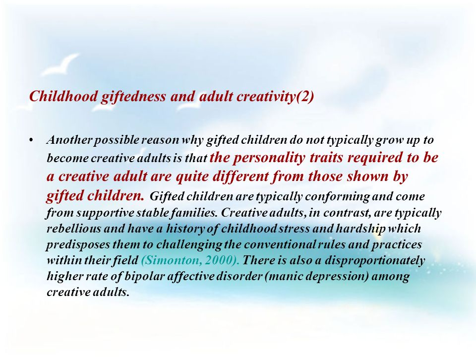 creative adults and Gifted