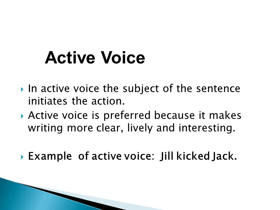 lively and active voice