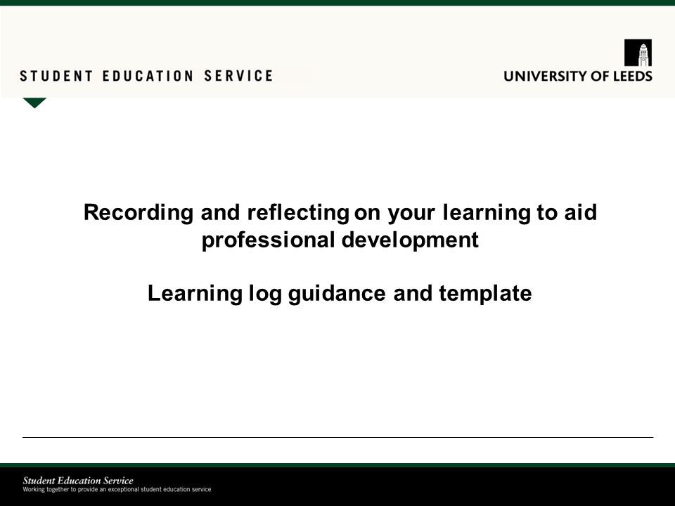 Recording and reflecting on your learning to aid professional ...