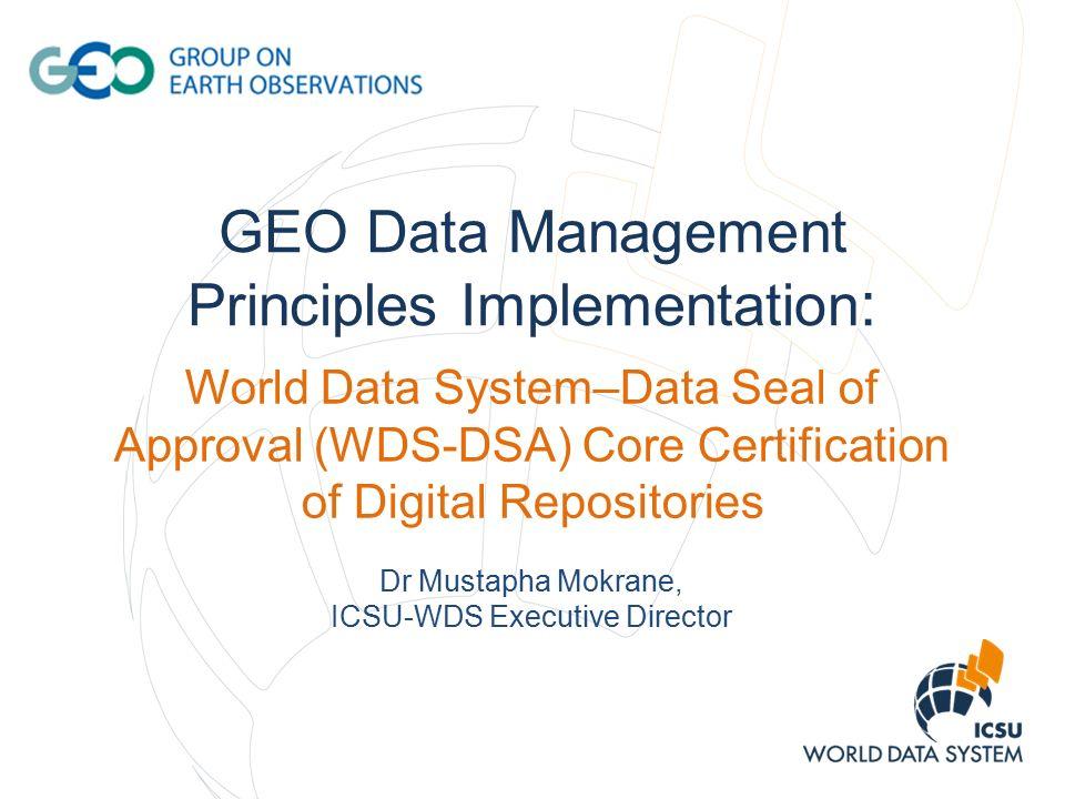 Geo Data Management Principles Implementation World Data System